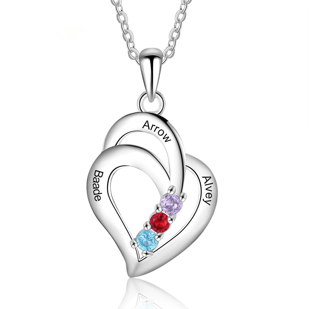 Tree Names Engraved Family Heart Necklace