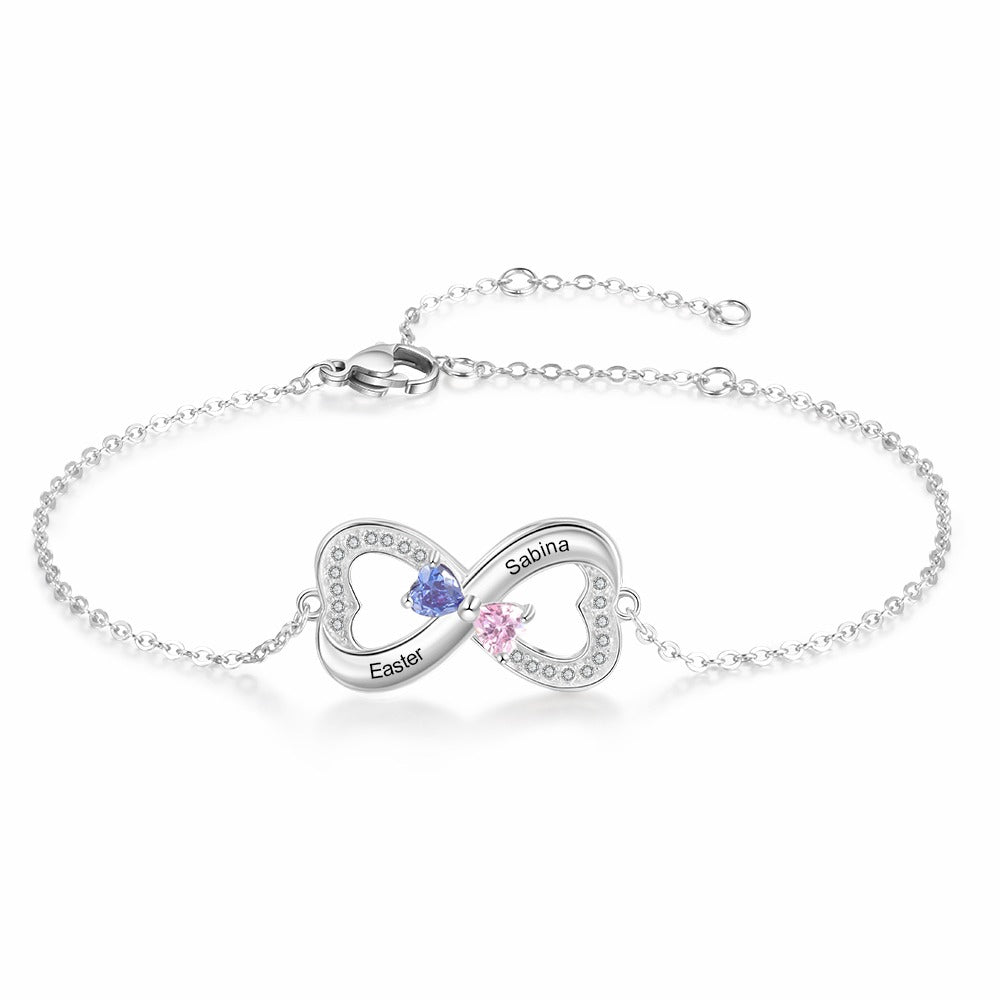 Two Names Engravable Infinity Bracelet