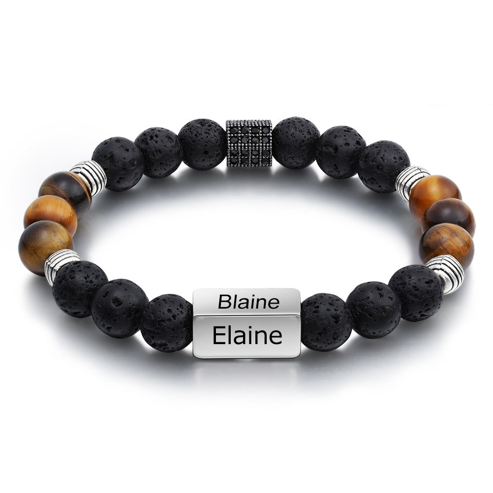 Custom 4 Names Beaded Bracelets for Men