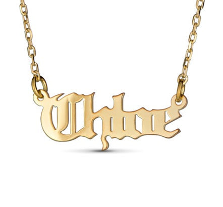 Name Necklace in Old English Font