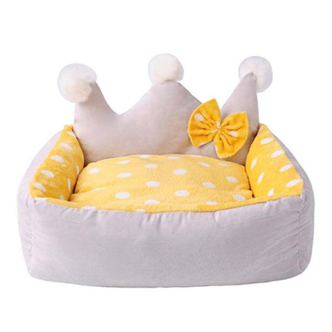 Dog bed Crown Shape with bow winter dog nest  camas para perro cute fashion Teddy dog small pet bed 50*45*25 cm