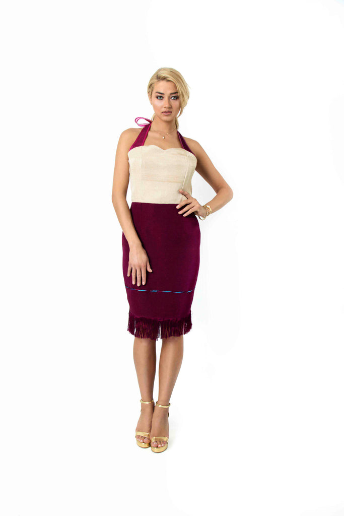 Sweetheart halterneck cocktail dress