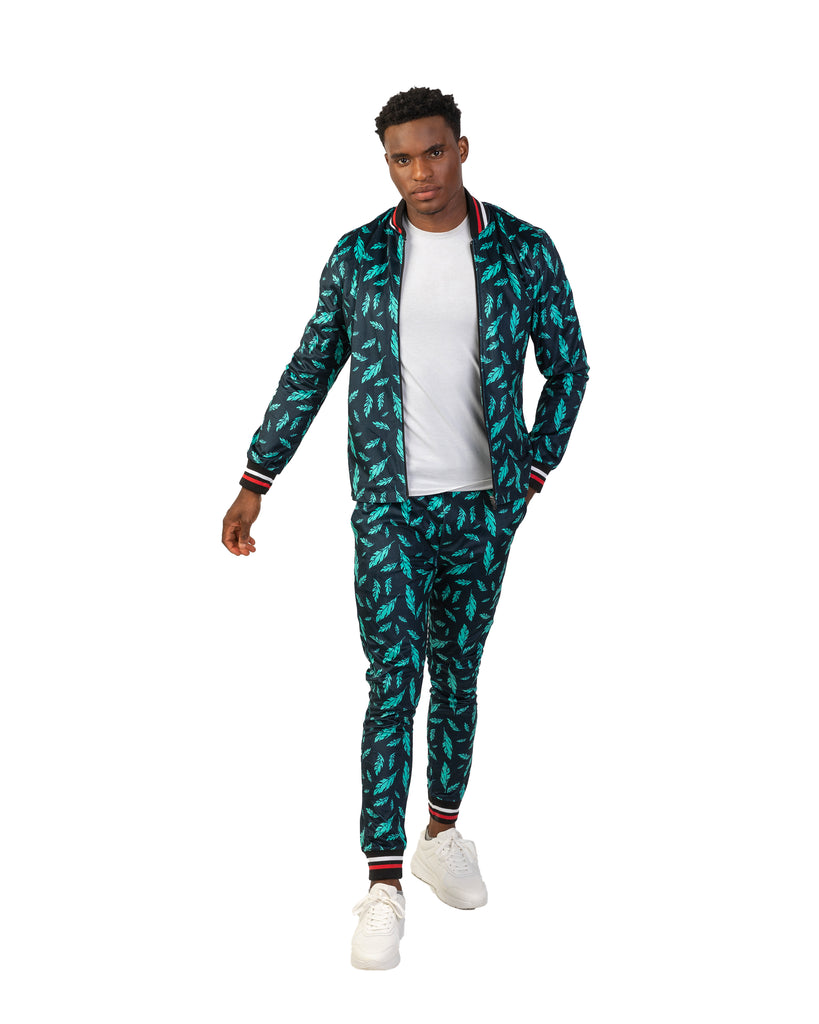 Teal Print Bomber Jacket & Trouser Set