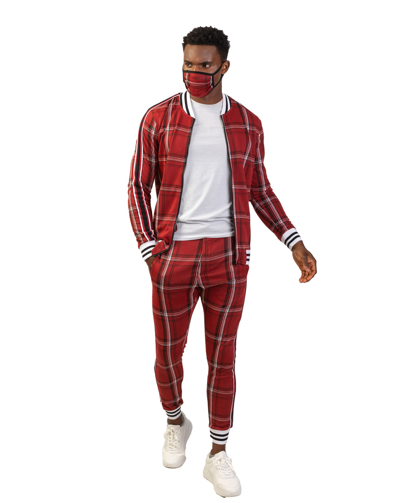 Red Plaid Co-ord Tracksuit with Matching Mask
