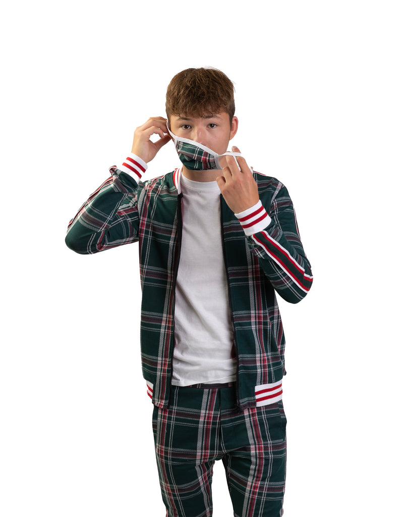 Green Plaid Tracksuit with Matching Mask