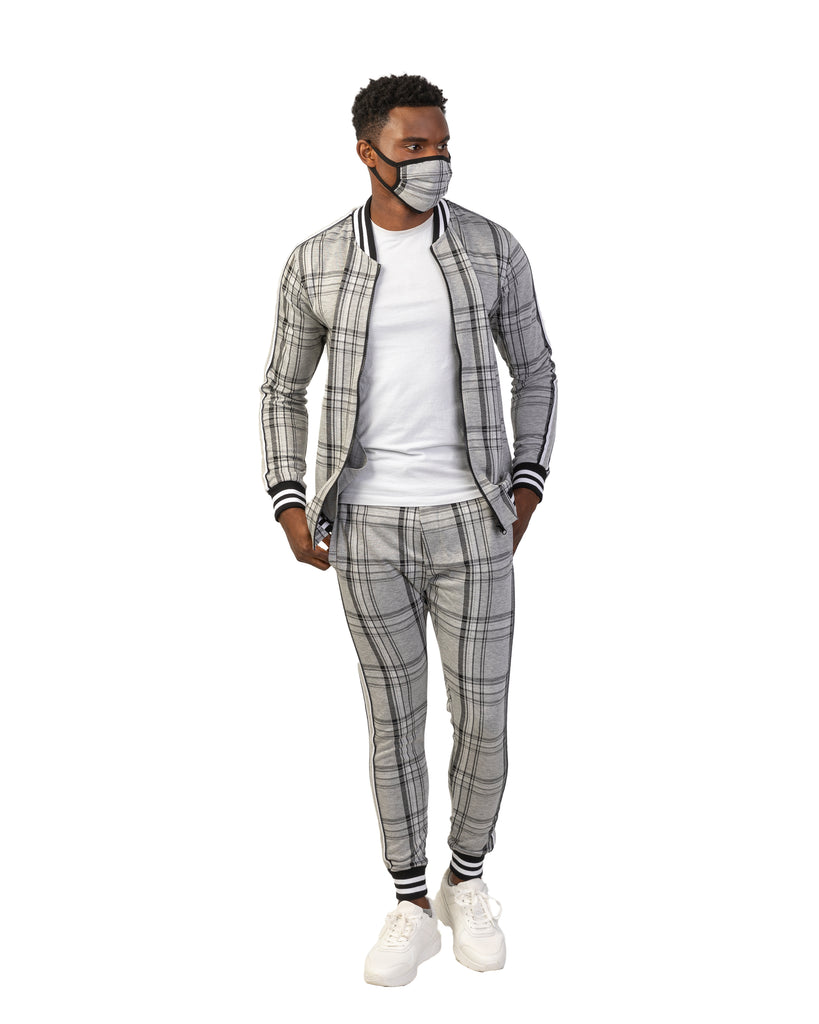 Grey Plaid Tracksuit with Matching Mask