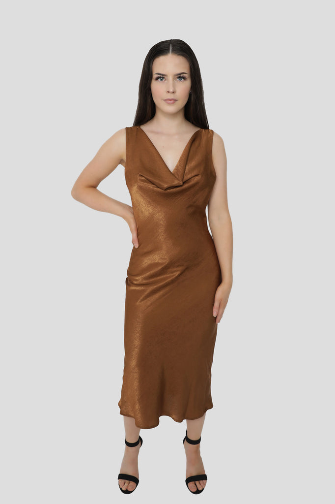 Draped Cowl Neck Slim-Fit Midi Slip Dress In Shimmering Bronze