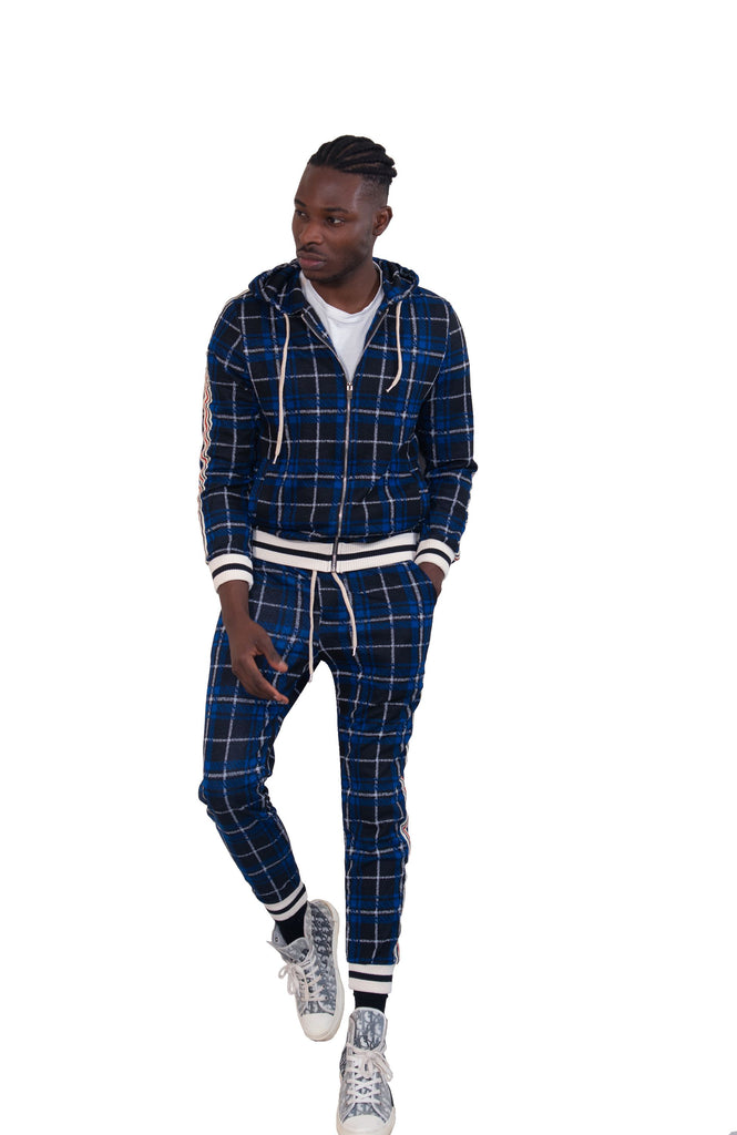 Blue Check Hooded Co-ord Tracksuit