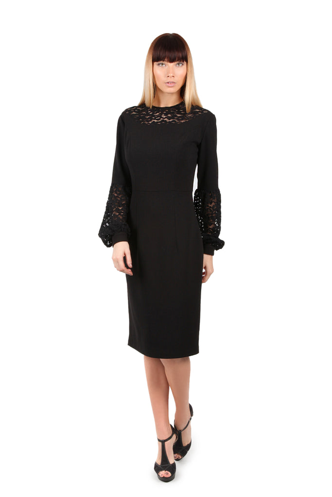 Chantilly Lace Bishop Sleeve Dress
