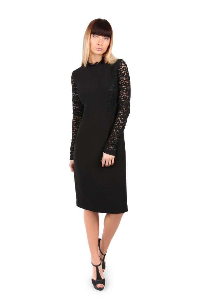 Black Lace Sleeved Dress