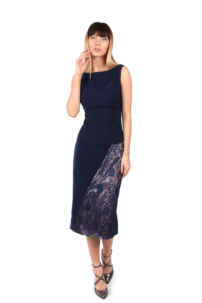 Blue Lace panelled skirt