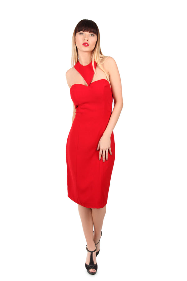 Halter neck fitted red dress