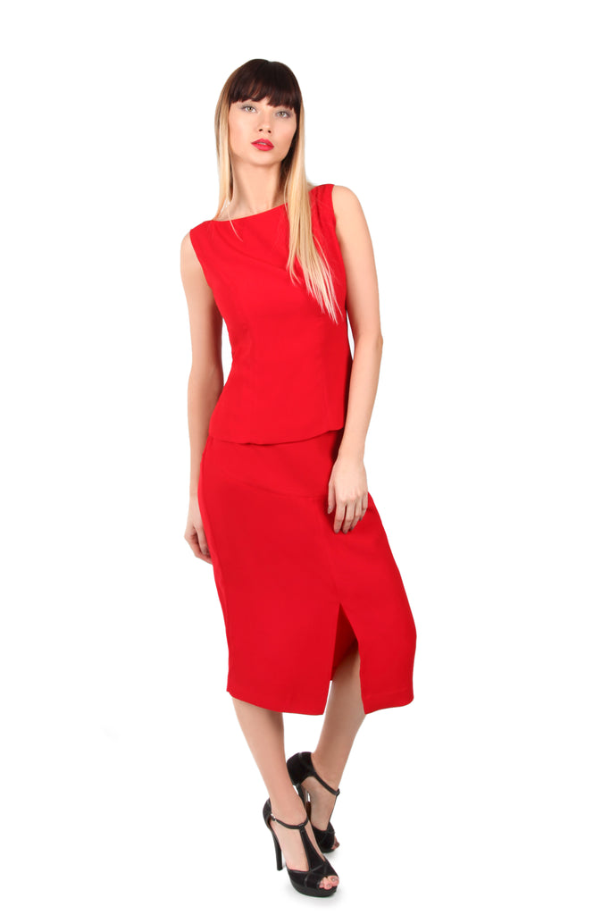 Red Front Slit Midi Skirt