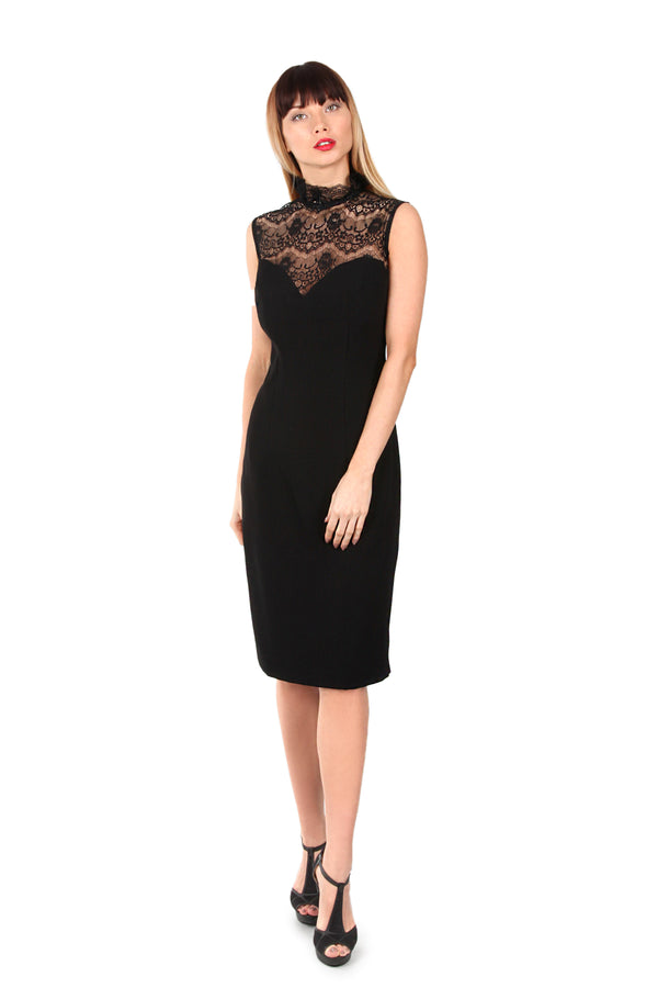 Black Lace Frill Neck Dress