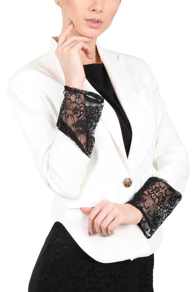 Blazer with Lace Sleeve