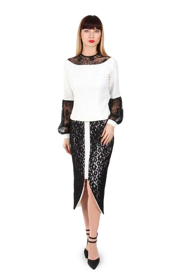 Lace panelled skirt
