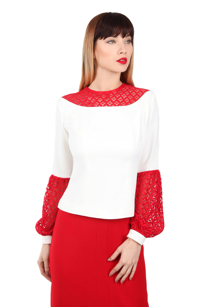 Lace Bishop Sleeve Top