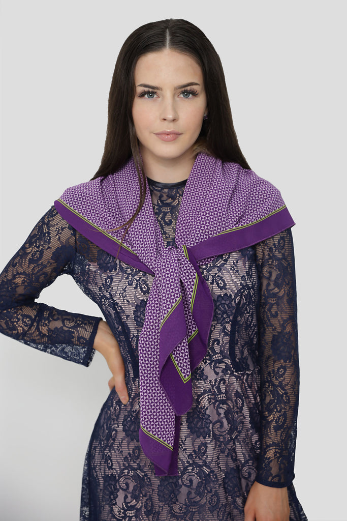Large Printed Purple Scarf
