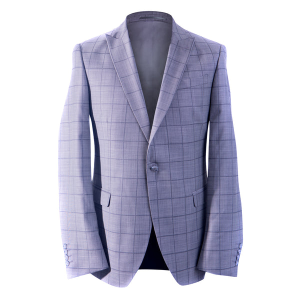 Grey Pure Wool Men's Blazer