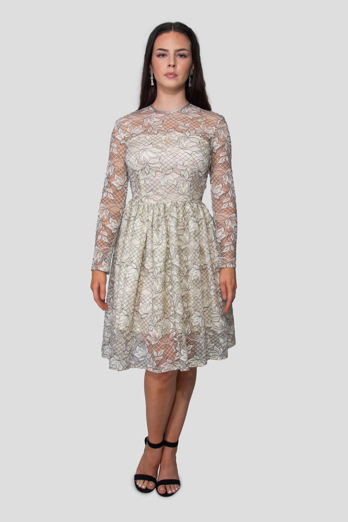 Corded Guipure Lace Dress In Cream & Black