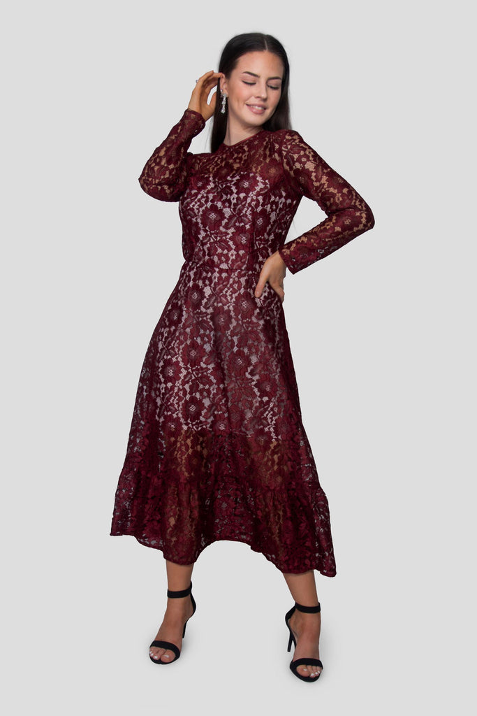 Corded Lace Midi Dress In Burgundy