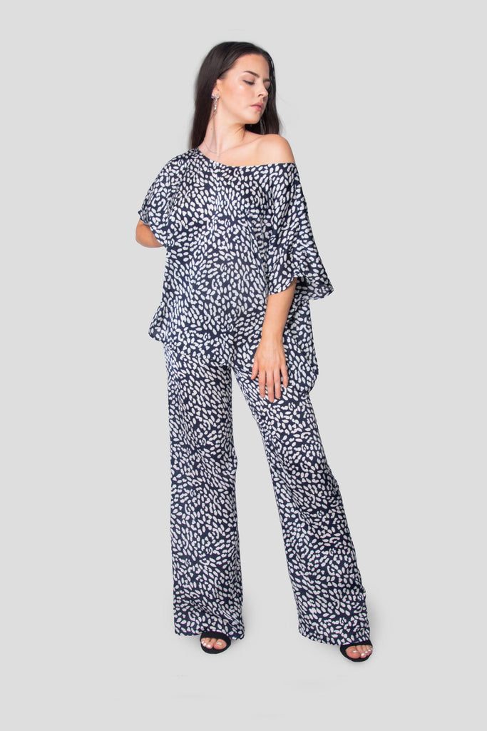 Maya Co-ord Top & Trouser Set in Speckled Blue