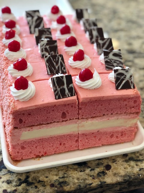 Strawberry Cake Slices w/Cheesecake Filling