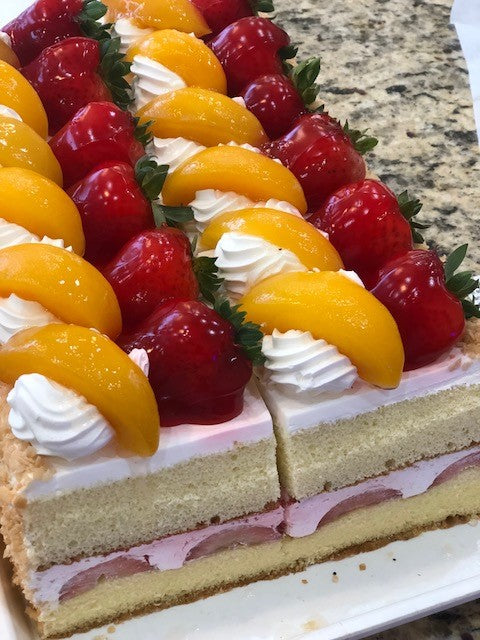 Strawberry Peach Cake Slice