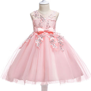 513ffc3edd0a 2018 new elegant flower girl wedding dress pink sweet princess dress lace  sequins high-end children's girls dance clothing
