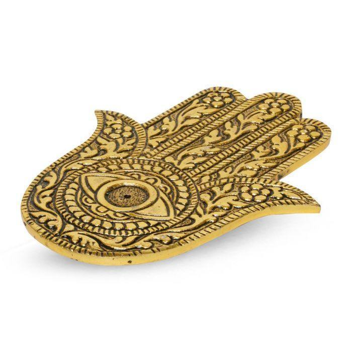 Hand of Fatima Gold Incense Burner - Viweedy Canna Eso Store