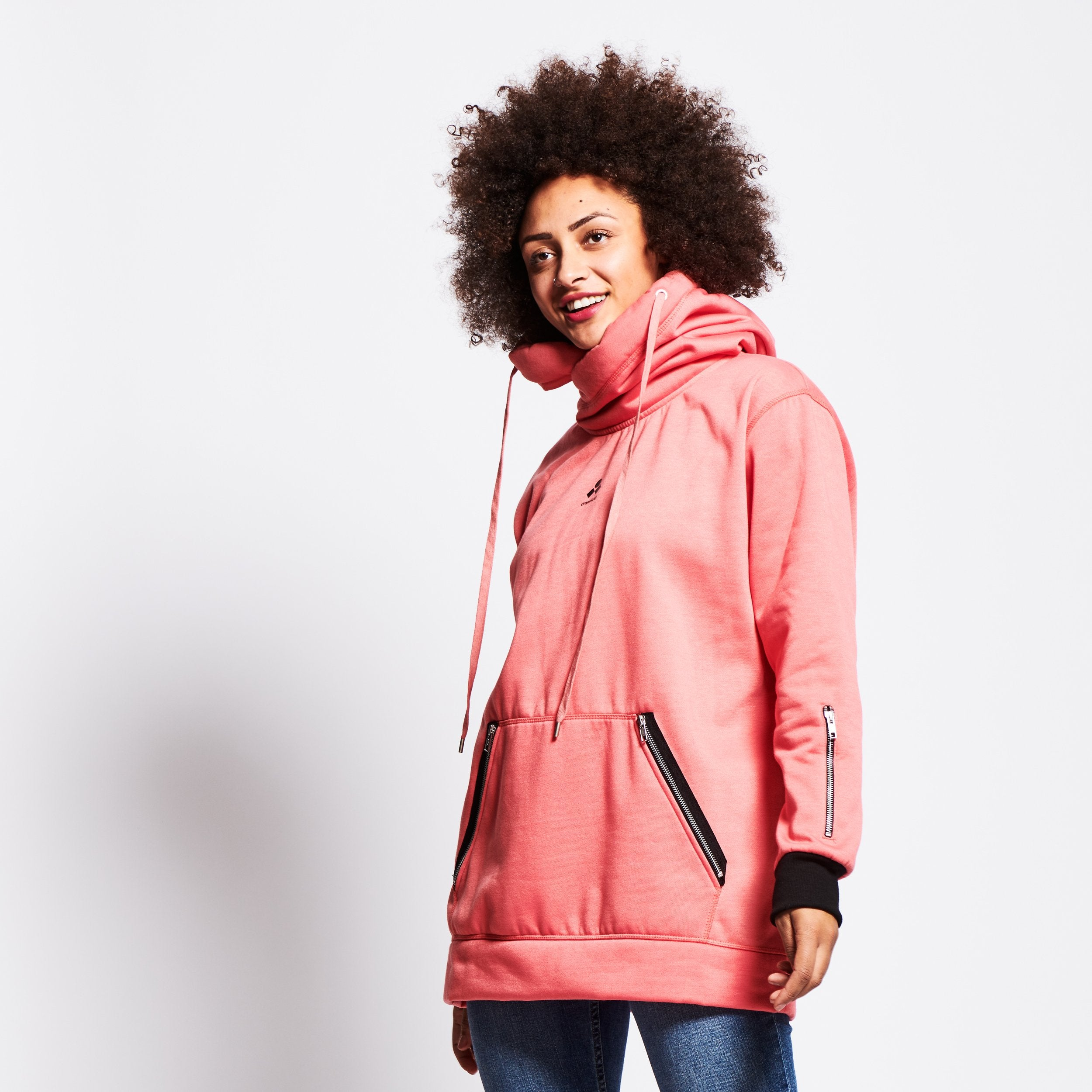 Women's Technical X-Neck Hoodie  - Pink image 1