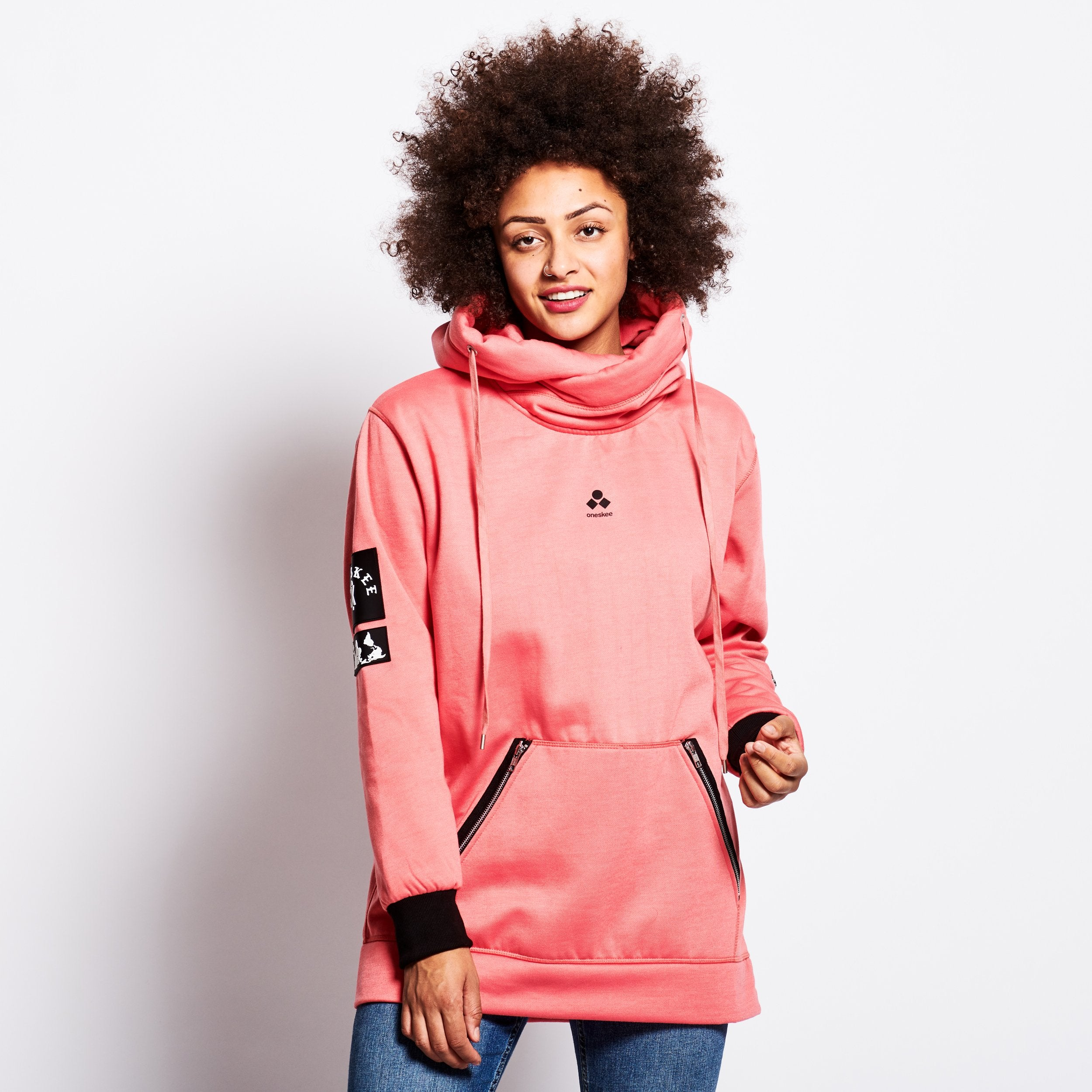 Women's Technical X-Neck Hoodie  - Pink image 2