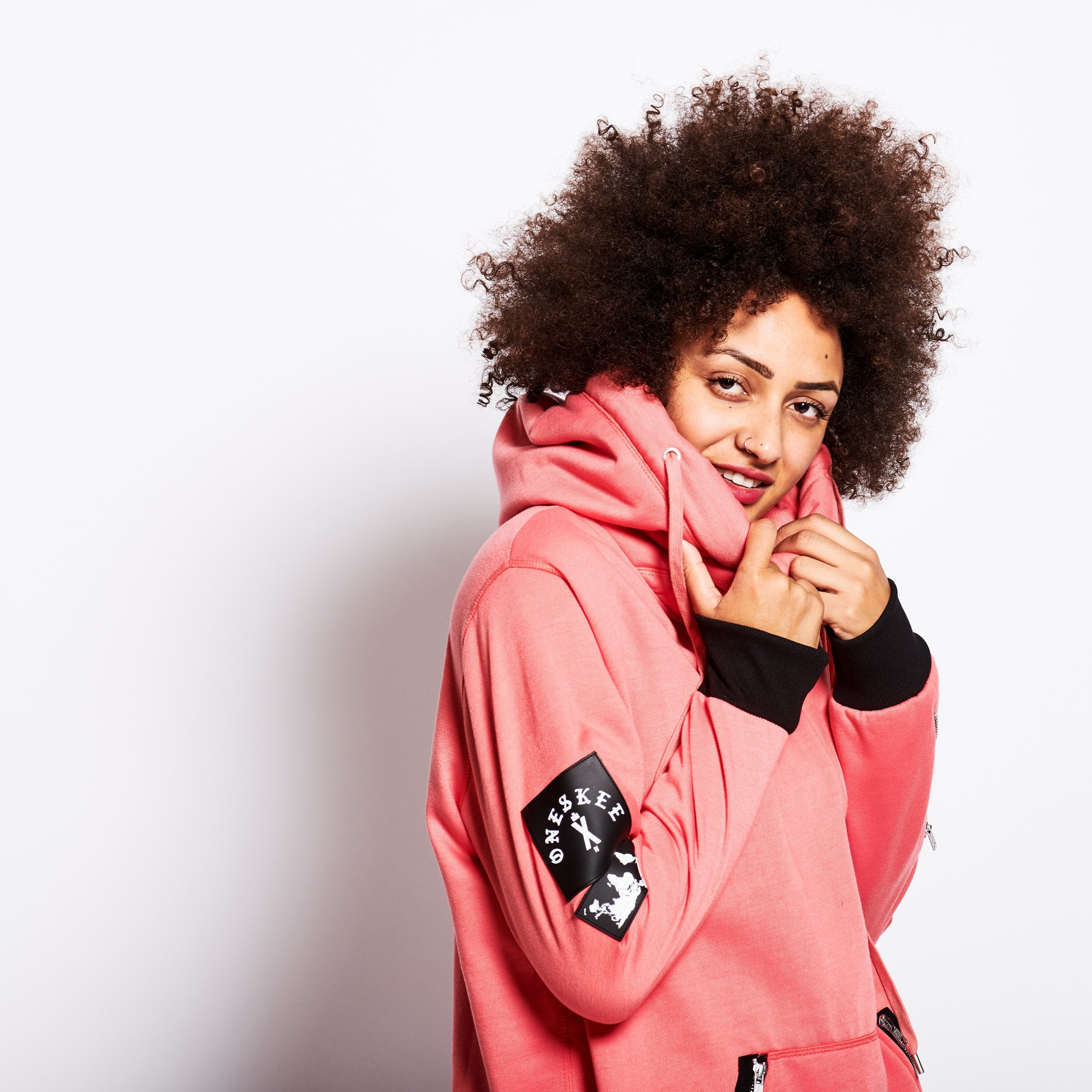 Women's Technical X-Neck Hoodie  - Pink image 3