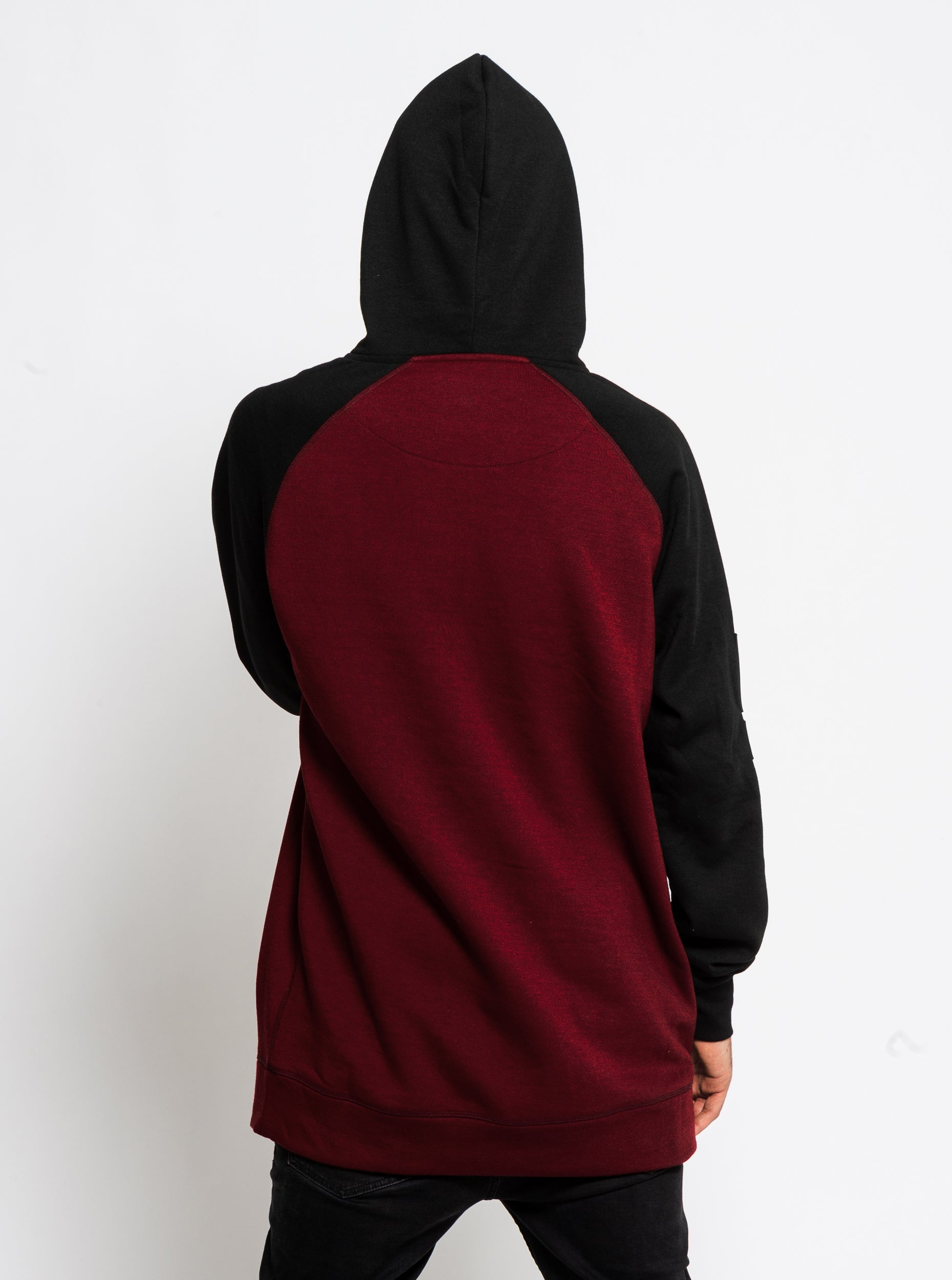 Men's Technical Raglan Hoodie - Burgundy image 2
