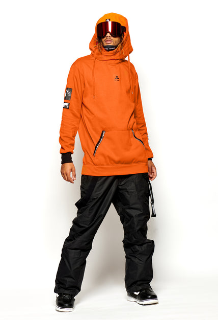 X Neck Hoodie  - Orange