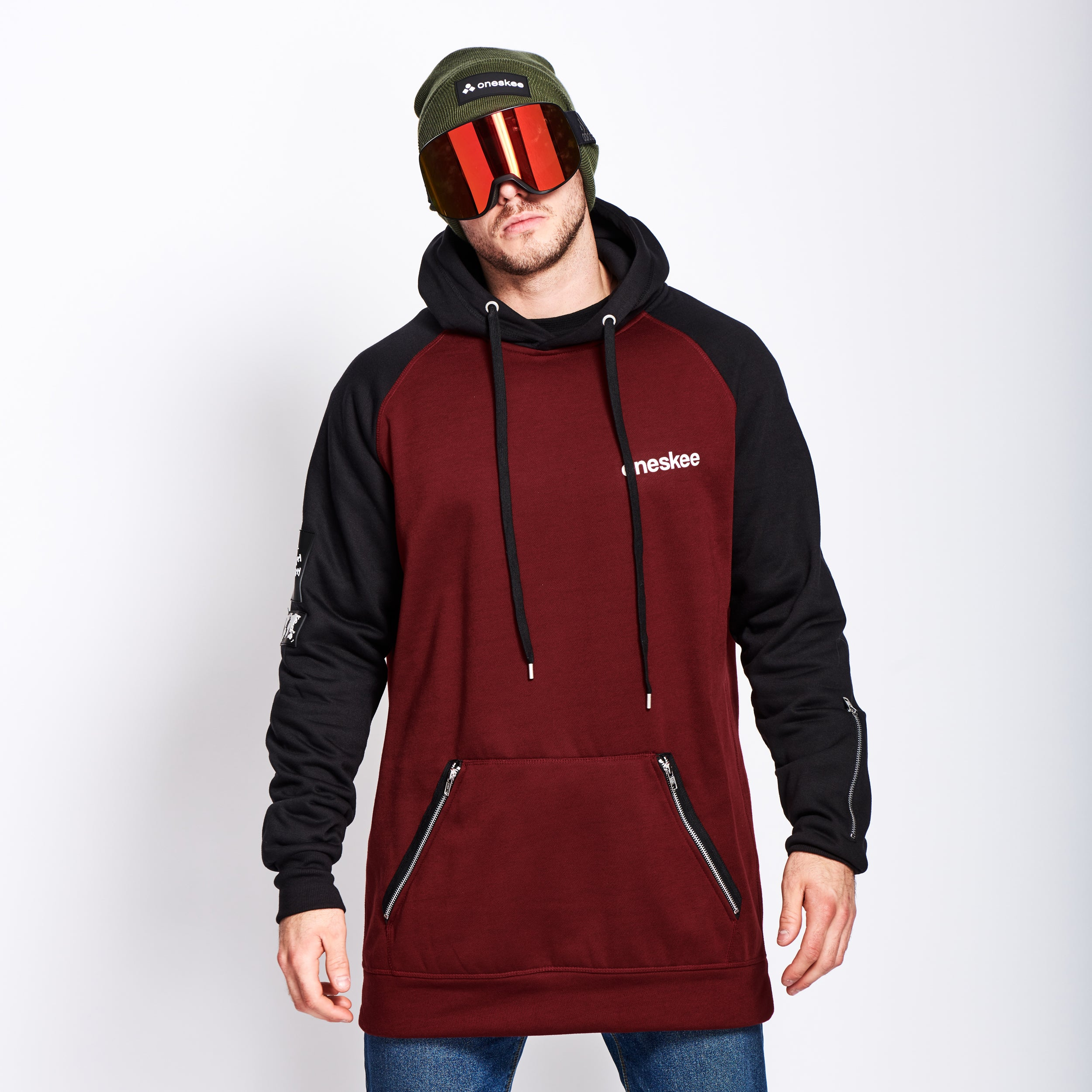 Men's Technical Raglan Hoodie - Burgundy image 1