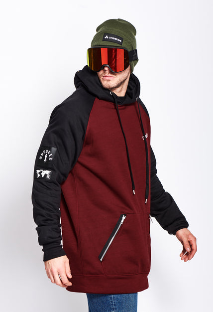 Men's Technical Raglan Hoodie - Burgundy