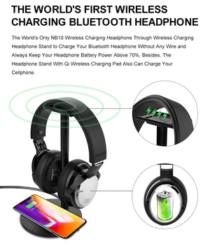 Soundtech NB - 10 Wireless Charging Bluetooth Headphones Incorporating Wireless Phone Charger