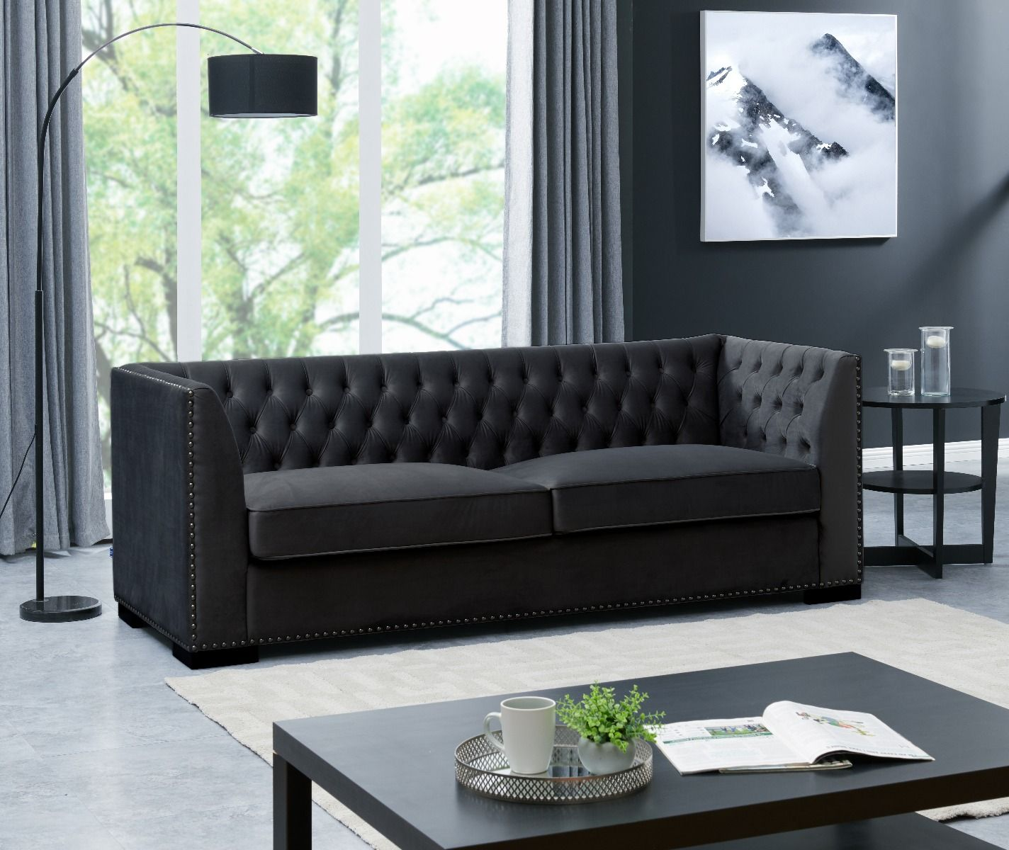 Chesterfield 3 Seater Sofa - Black