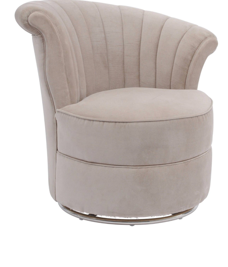 Savoy Curved Taupe Velvet Swivel Chair