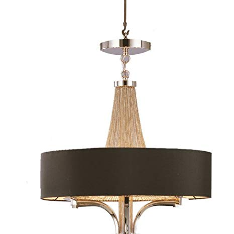Langan Chandelier Large with Black shade and Silver chains