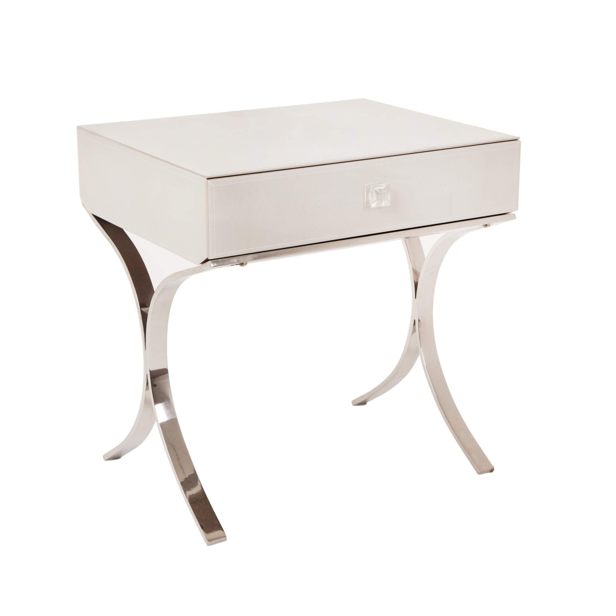 Iced Ivory Shagreen Sovana Side Table / Bedside