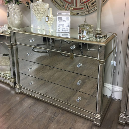 Capri Champagne Mirror 5 Drawer Chest