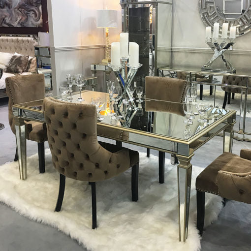 Capri Champagne Mirror Dining Table
