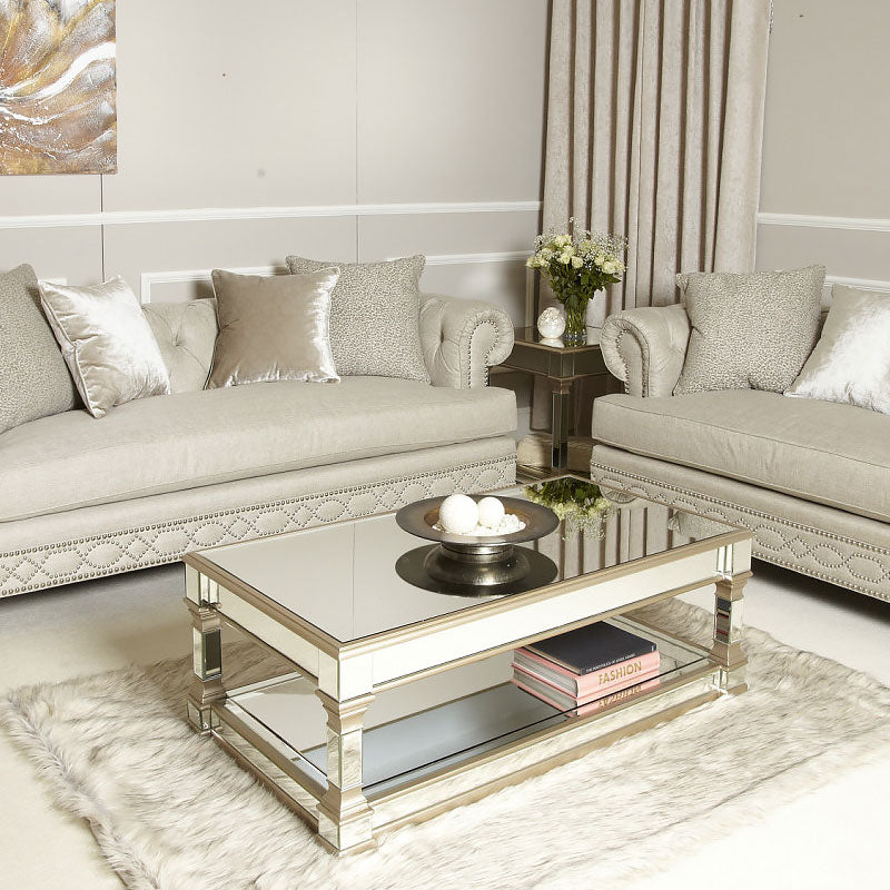 Capri Champagne Mirror Coffee Table