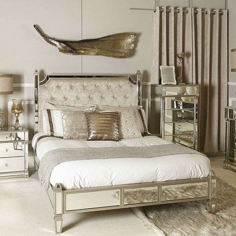 Capri Champagne Mirror King Size Bed