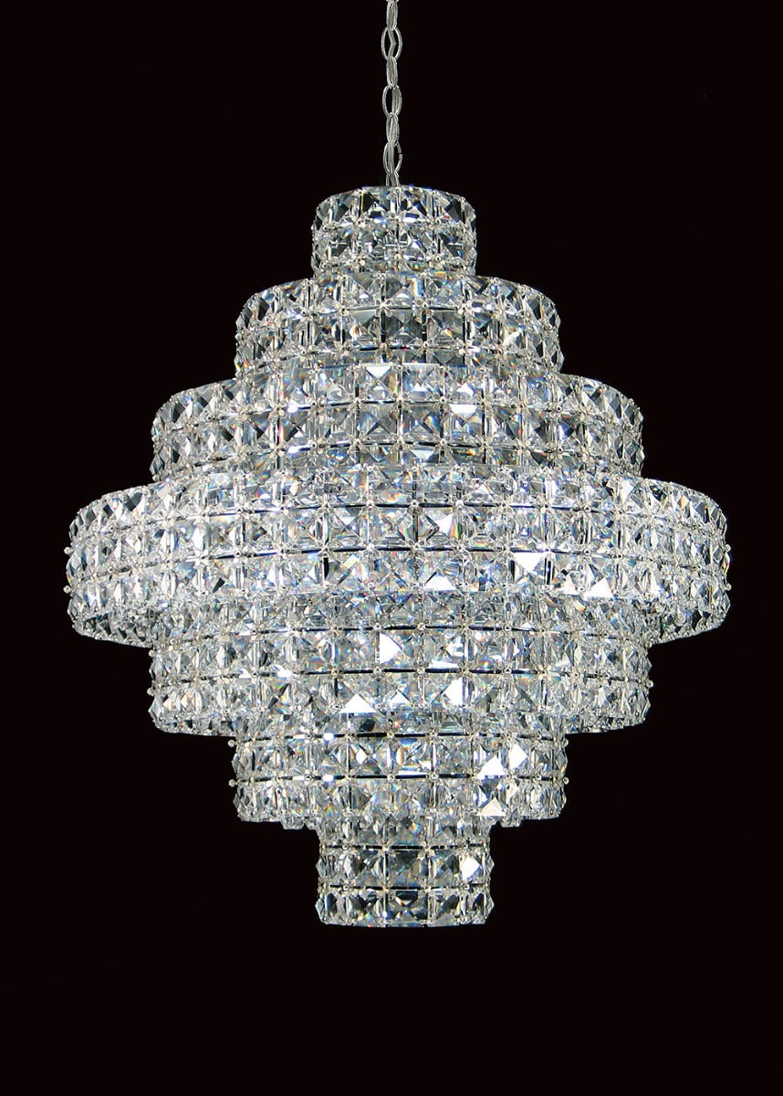 Square 11 Light Chrome Crystal Ceiling Chandelier Light