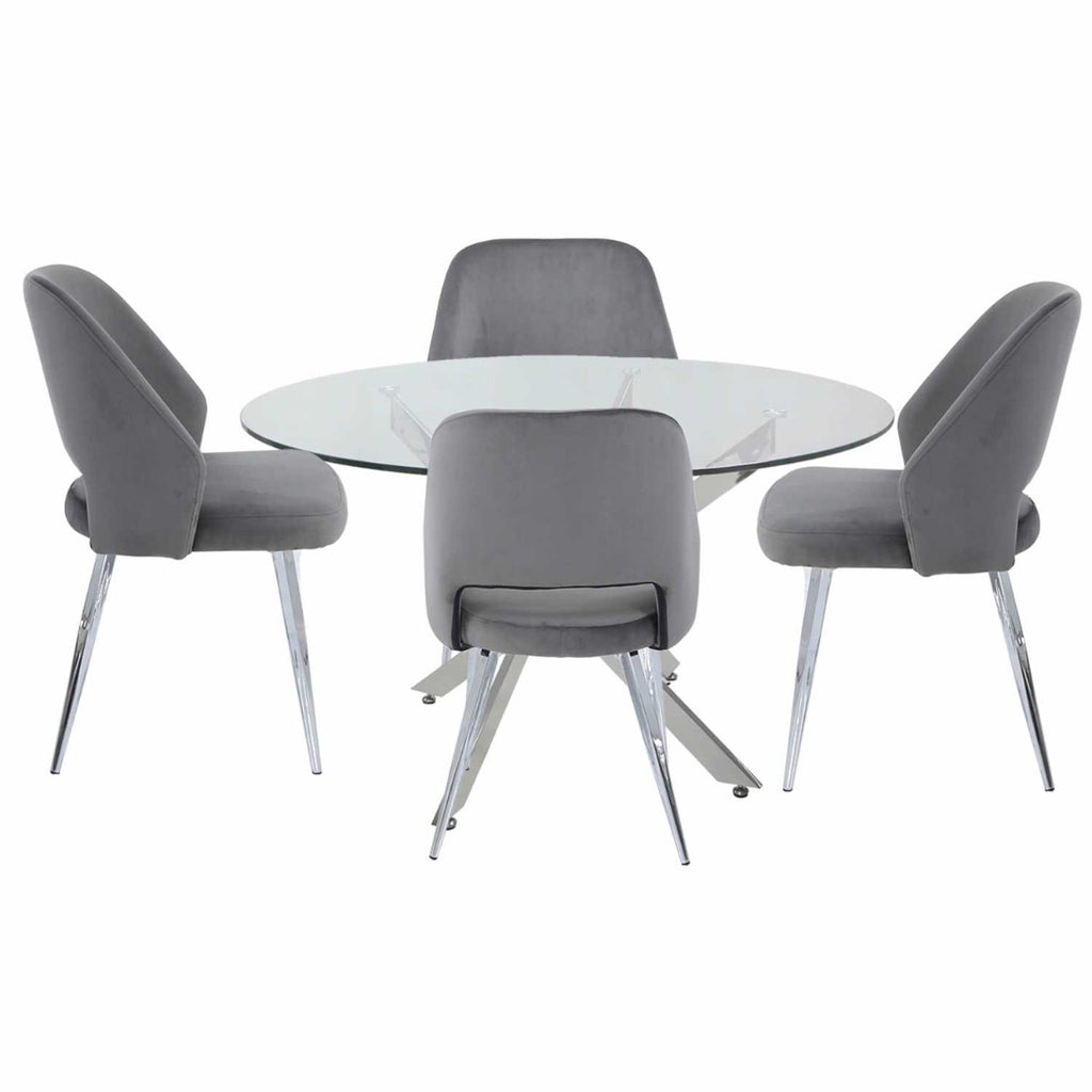 Grey Round Dining Set