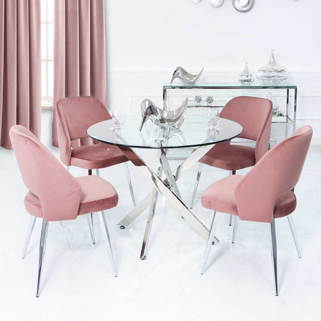 Blush Pink Round Dining Set
