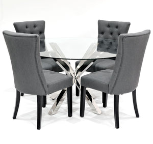 Crossly Round Dining Set - Grey
